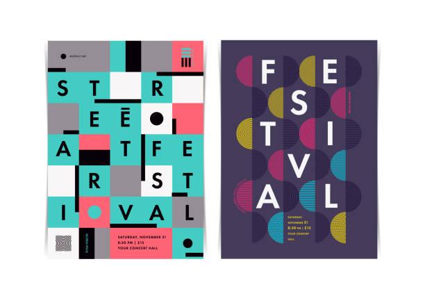 stockillustraties, clipart, cartoons en iconen met de indeling van het festival posters met kleurrijke geometrische elementen. vectorillustratie. - festival