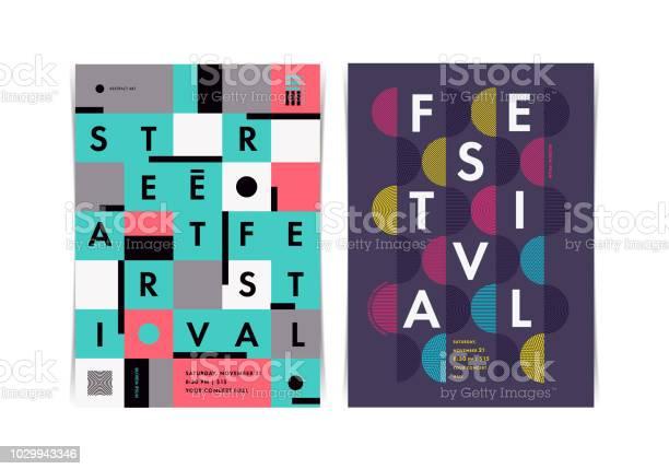 De Indeling Van Het Festival Posters Met Kleurrijke Geometrische Elementen Vectorillustratie Stockvectorkunst en meer beelden van Aankondigingsbericht