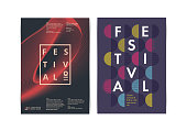 Festival posters layout with Colorful Geometric Elements. Vector illustration.