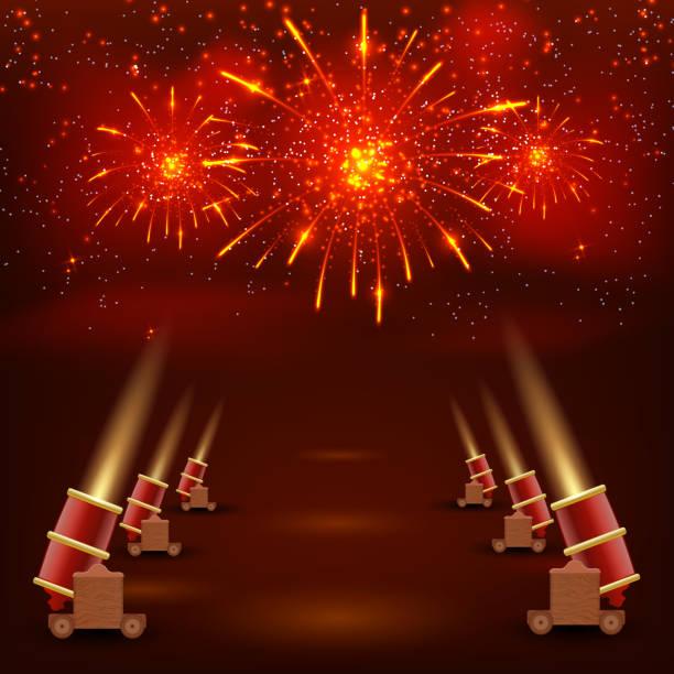 ilustraciones, imágenes clip art, dibujos animados e iconos de stock de festival red background. festive background with shooting guns - sparks