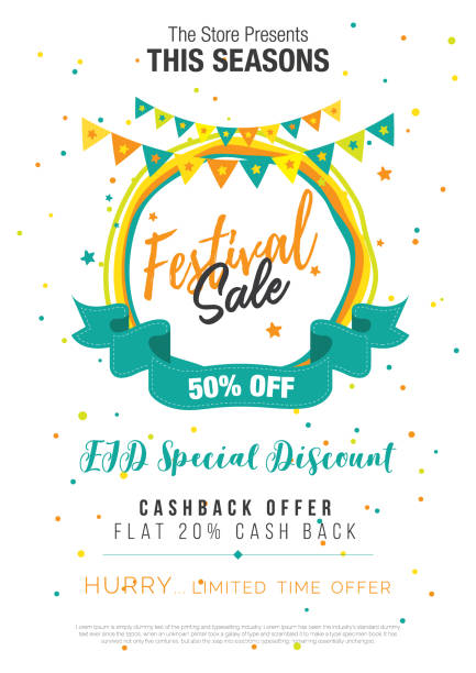 festival sale poster flyer layout template - tradycyjny festiwal stock illustrations