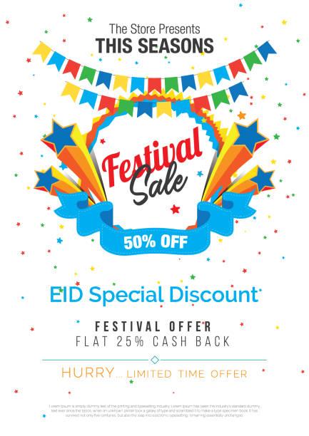 stockillustraties, clipart, cartoons en iconen met festival verkoop poster flyer layout sjabloon - traditioneel festival