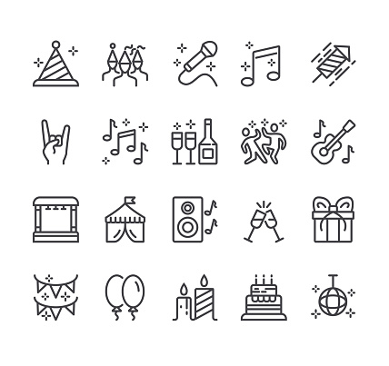 Festival selebration concert party disco dance flat black thin line stroke isolaed icon set collection
