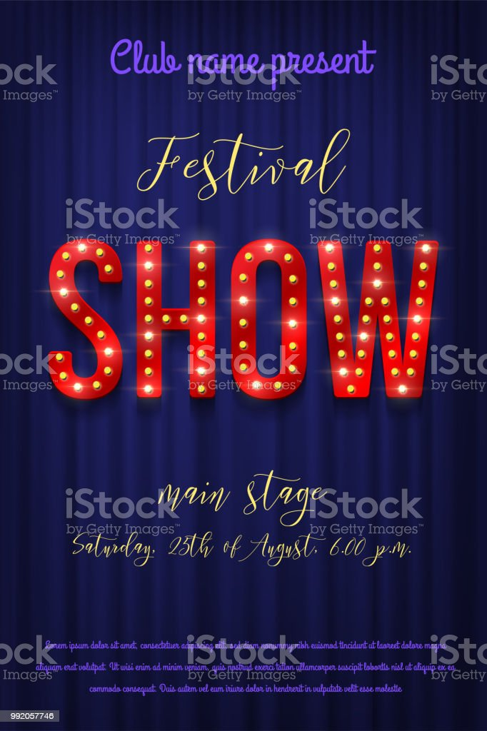 festival show flyer template vector retro bulb show sign with