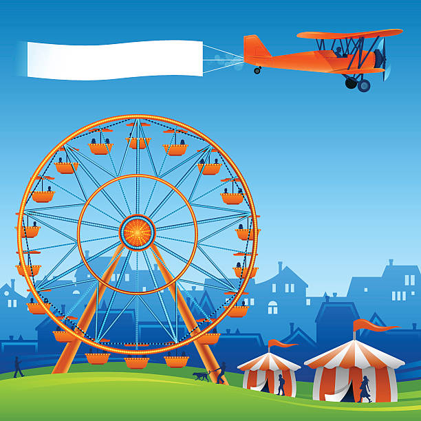 Festival Festival background with copy space, biplane and ferris wheel. EPS 10 file. Transparency effects used on highlight elements. farmer's market stock illustrations