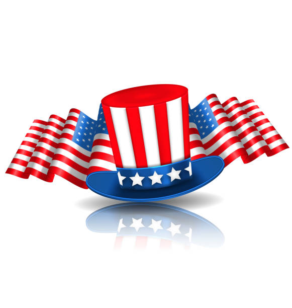 Festive Background in American National Colors Illustration Festive Background in American National Colors with Uncle Sam Hat and Flags - Vector surface to air missile stock illustrations