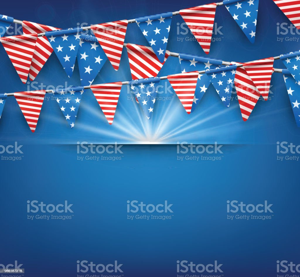 Festive background with American flags. - Royalty-free American Culture stock vector