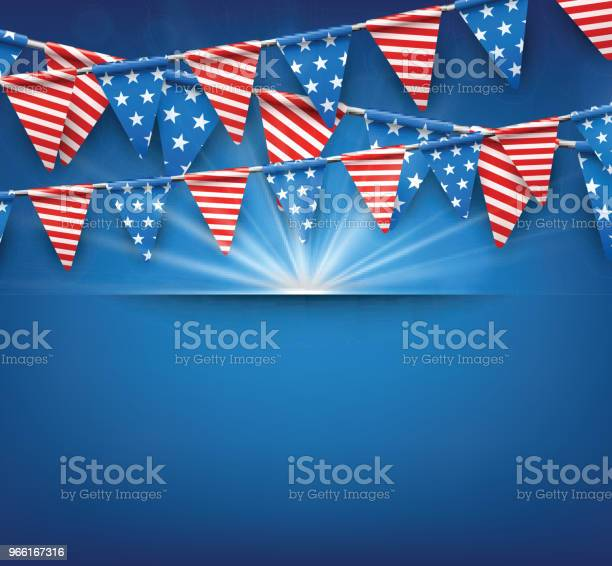 Festlig Bakgrund Med Amerikanska Flaggor-vektorgrafik och fler bilder på Affisch