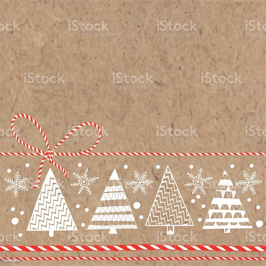 Festive background with Christmas trees and snowflakes on kraft paper. vector art illustration