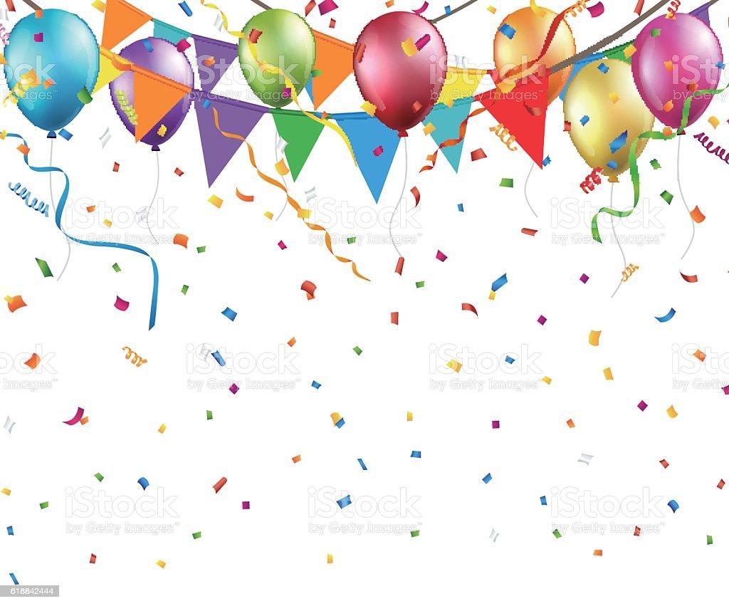 Festive background with colorful balloons and flags Vector - ilustración de arte vectorial