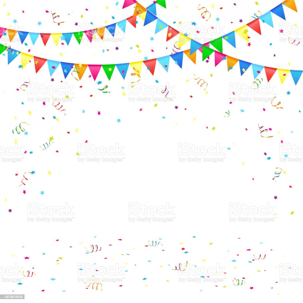 Festive background with confetti vector art illustration