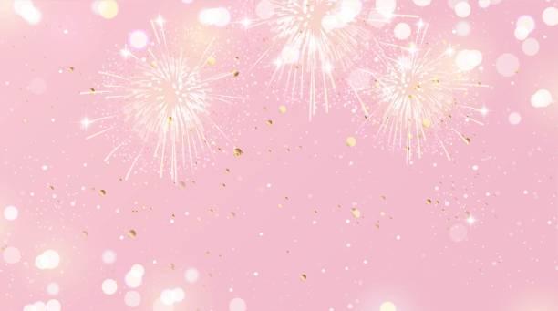 świąteczne tło z fajerwerkami i światłami w różowych i złotych kolorach. - four seasons stock illustrations