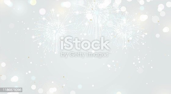 istock Festive background with fireworks and lights in silver colors. 1186875095