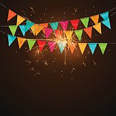 Festive background with flags,sparklers.vector
