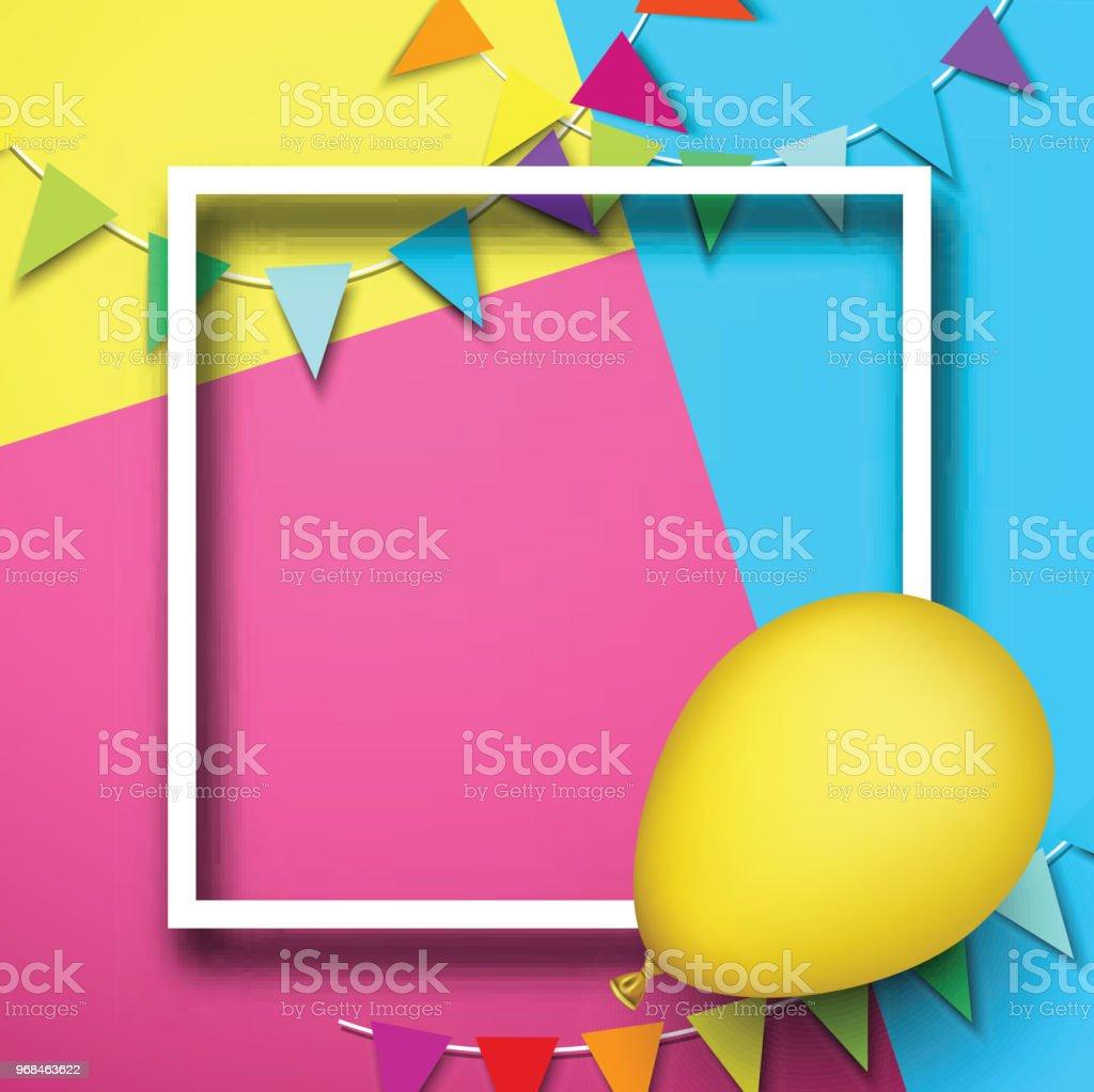 Festlichen Hintergrund Mit Rahmen Ballon Und Fahnen Stock Vektor Art ...