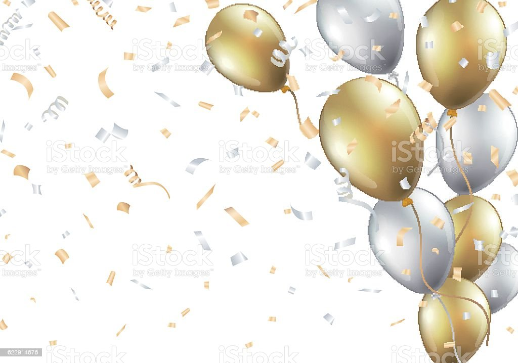 Festive background with gold and silver balloons vector art illustration