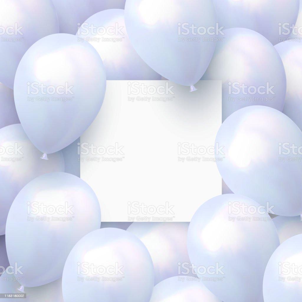 Fond Festif Avec Des Ballons Dhelium Celebrez Un Anniversaire Affiche Banniere Joyeux Anniversaire Elements Decoratifs Realistes De Conception Ballon Dobjet 3d De Vecteur Couleur Bleue Feuille Avec De Lespace Pour Le Texte