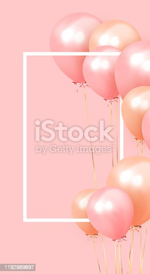 Festive background with helium balloons. Celebrate a birthday, Poster, banner happy anniversary. copy space for text. Vector 3d object ballon with ribbon, pink color.