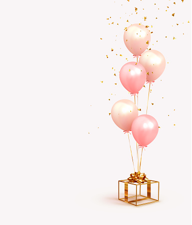 Festive background with helium balloons, gold gift box. Poster Happy Birthday, banner happy anniversary. Realistic decorative design elements. Vector 3d object ballon with ribbon, pink, coral color.