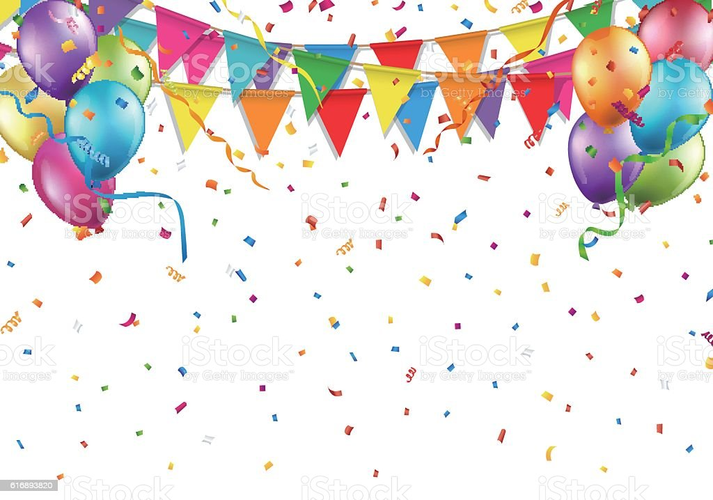 Party Balloons And Confetti Wallpaper