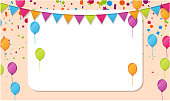 Festive poster with white frame, colorful flags, balloons and confetti. Design for kids party, birthday in cartoon style. Decoration for playroom, children's area for fun and play. Vector background.