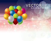 A vector illustration to show colourful balloon in a star background