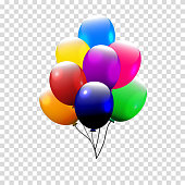 Festive Balloons real transparency. Vector illustration. 3d illustrator.
