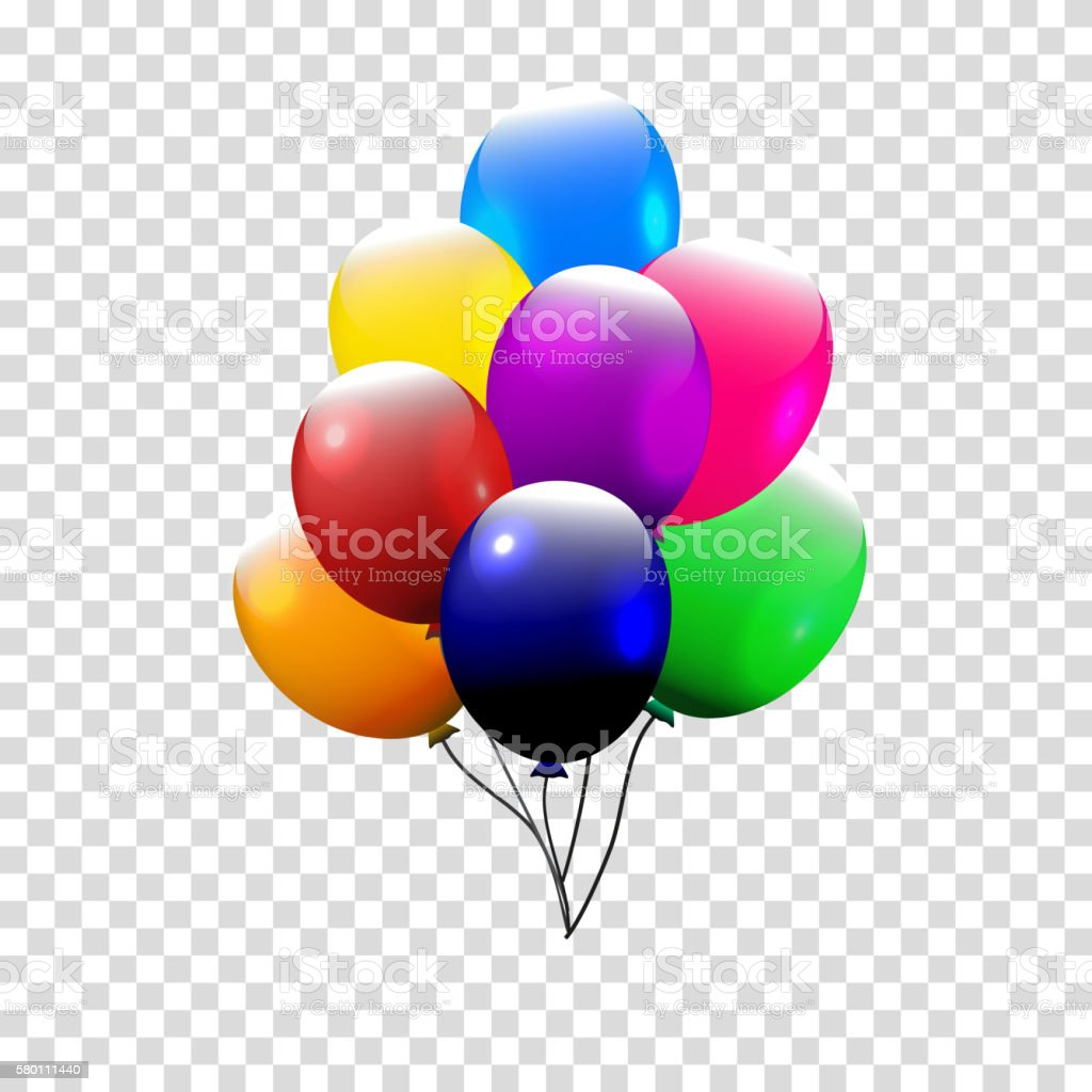 Festive Balloons real transparency. Vector illustration. 3d illustrator. vector art illustration