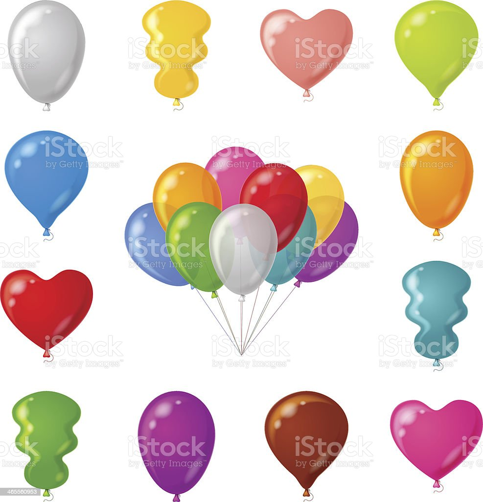 Festive balloons, set royalty-free stock vector art