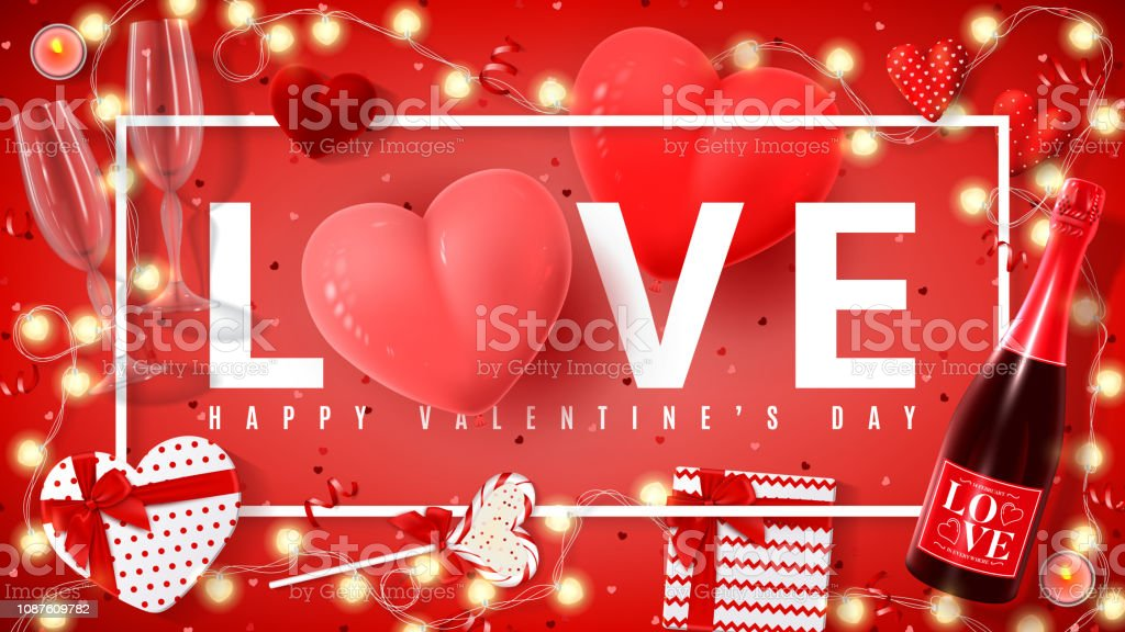 Royalty Free Happy Valentine Day Banners With Red Realistic Hearts