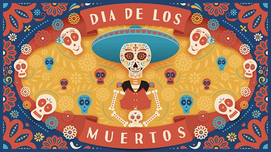 Festive banner of Day of the Dead