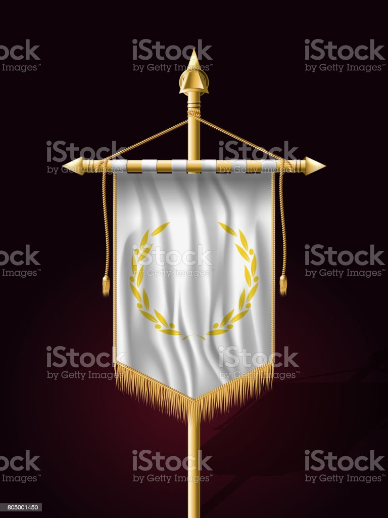 Festive Banner Vertical Flag with Flagpole. Wall Hangings with Gold Tassel Fringing. Has Place for Inscription or Logo vector art illustration