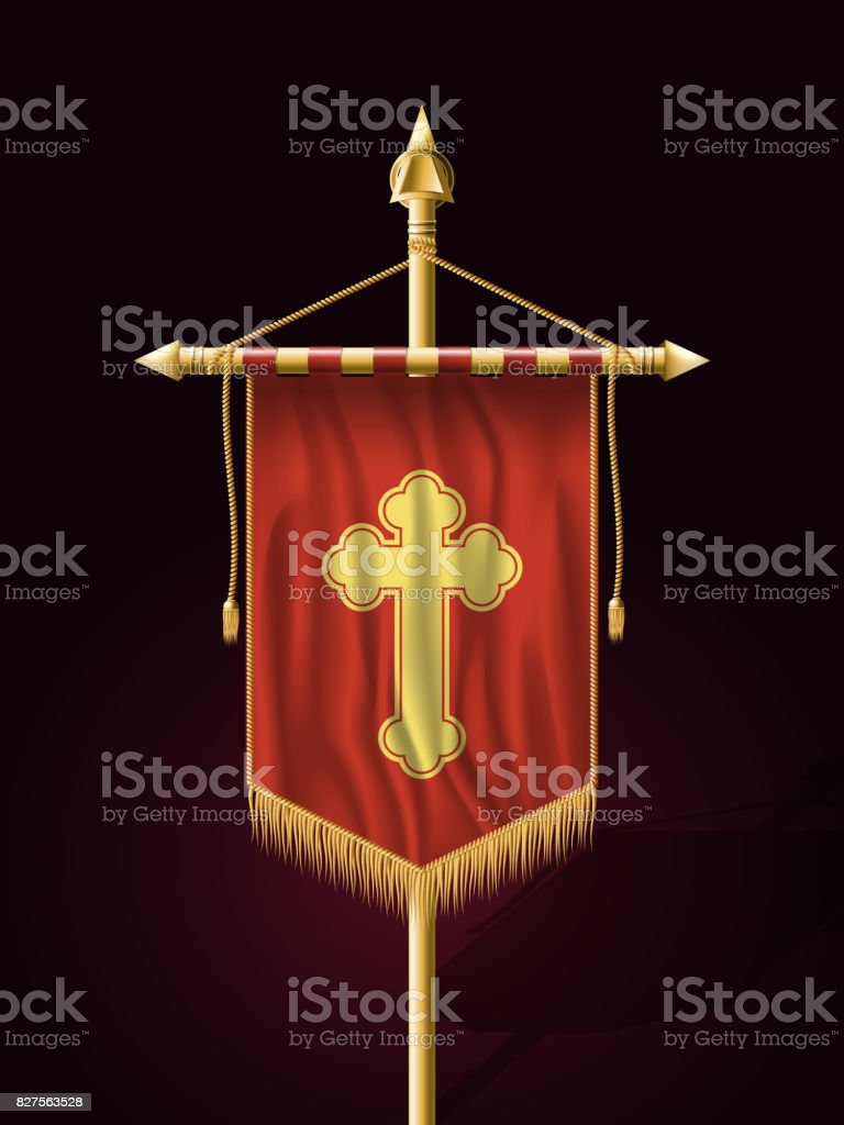 Festive Banner Vertical Flag with Religious Cross. Wall Hangings with Gold Tassel Fringing. Has Save Space for Inscription vector art illustration