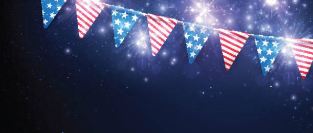 Festive banner with American flags. vector art illustration