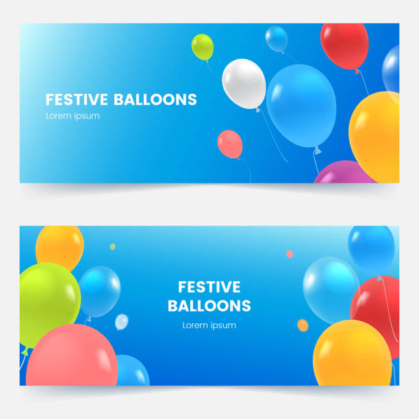 Festive banners with colorful balloons on blue sky. Multicolored flying balloons background. Grand opening, birthday or wedding invitation concept. Vector illustration. vector art illustration