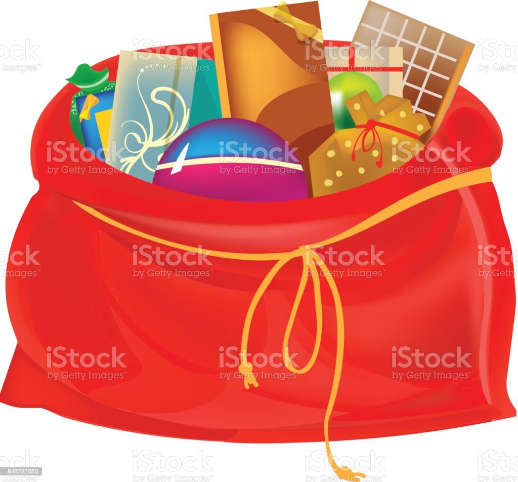 Festive Beautiful Big New Years Bag With Gifts Games Sweets Stock ...