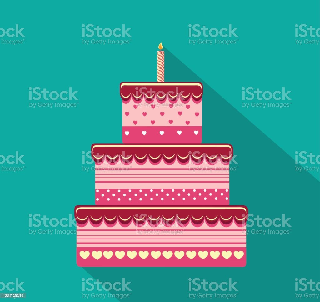 Festive big cake. Happy Birthday. Greeting card or invitation for a holiday. Vector festive big cake happy birthday greeting card or invitation for a holiday vector - immagini vettoriali stock e altre immagini di ambiente royalty-free
