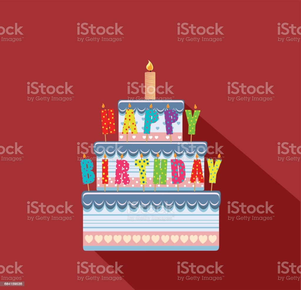 Festive big cake. Happy Birthday. Greeting card or invitation for a holiday. Vector royalty-free festive big cake happy birthday greeting card or invitation for a holiday vector stock vector art & more images of anniversary