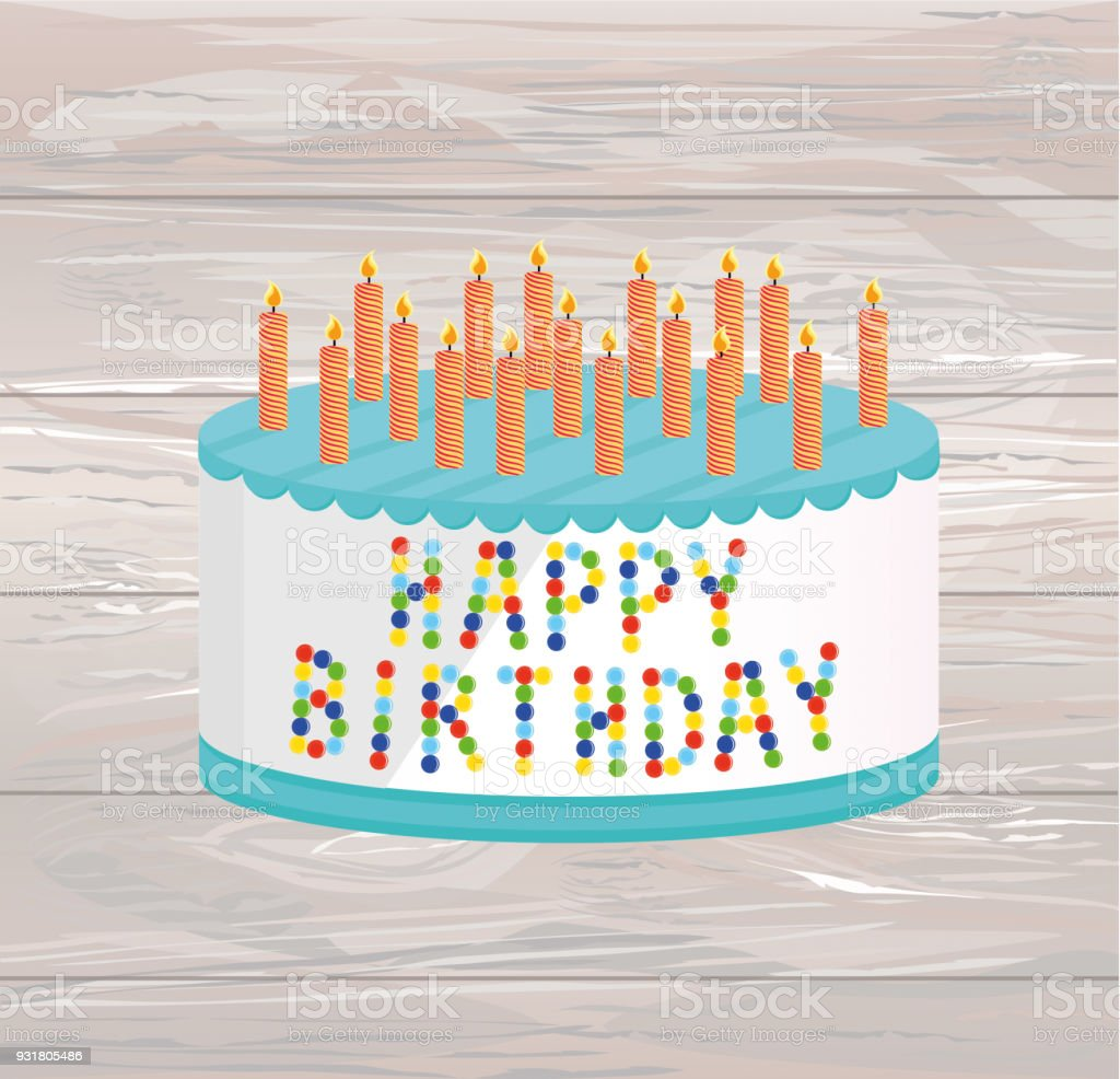 Festive big cake happy birthday greeting card or invitation for a festive big cake happy birthday greeting card or invitation for a holiday vector stopboris Gallery