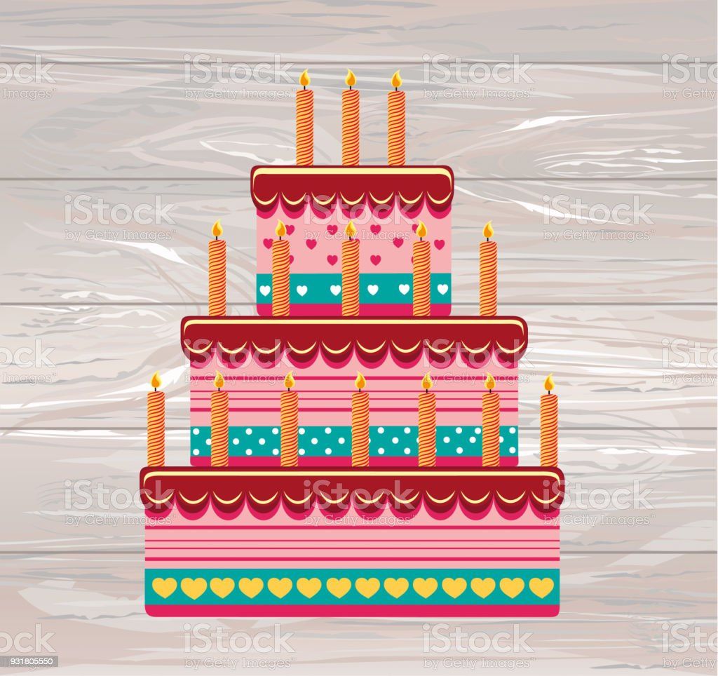 Festive Big Cake Happy Birthday Greeting Card Or Invitation For A
