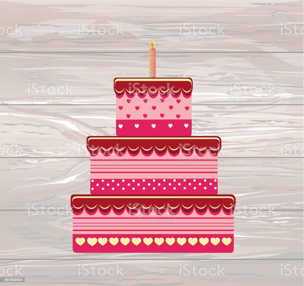 Festive Big Cake Happy Birthday Greeting Card Or Invitation For A
