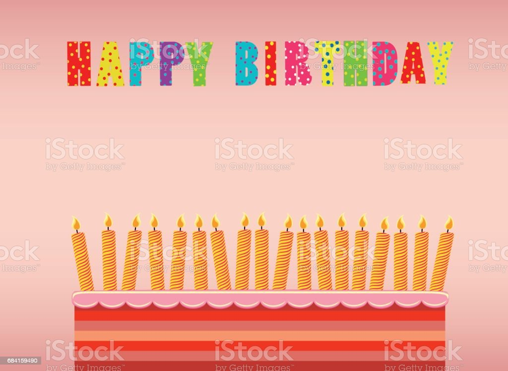 A festive big cake with candles on a stand. Happy Birthday. Greeting card or invitation for a holiday. Vector royalty-free a festive big cake with candles on a stand happy birthday greeting card or invitation for a holiday vector stock vector art & more images of anniversary