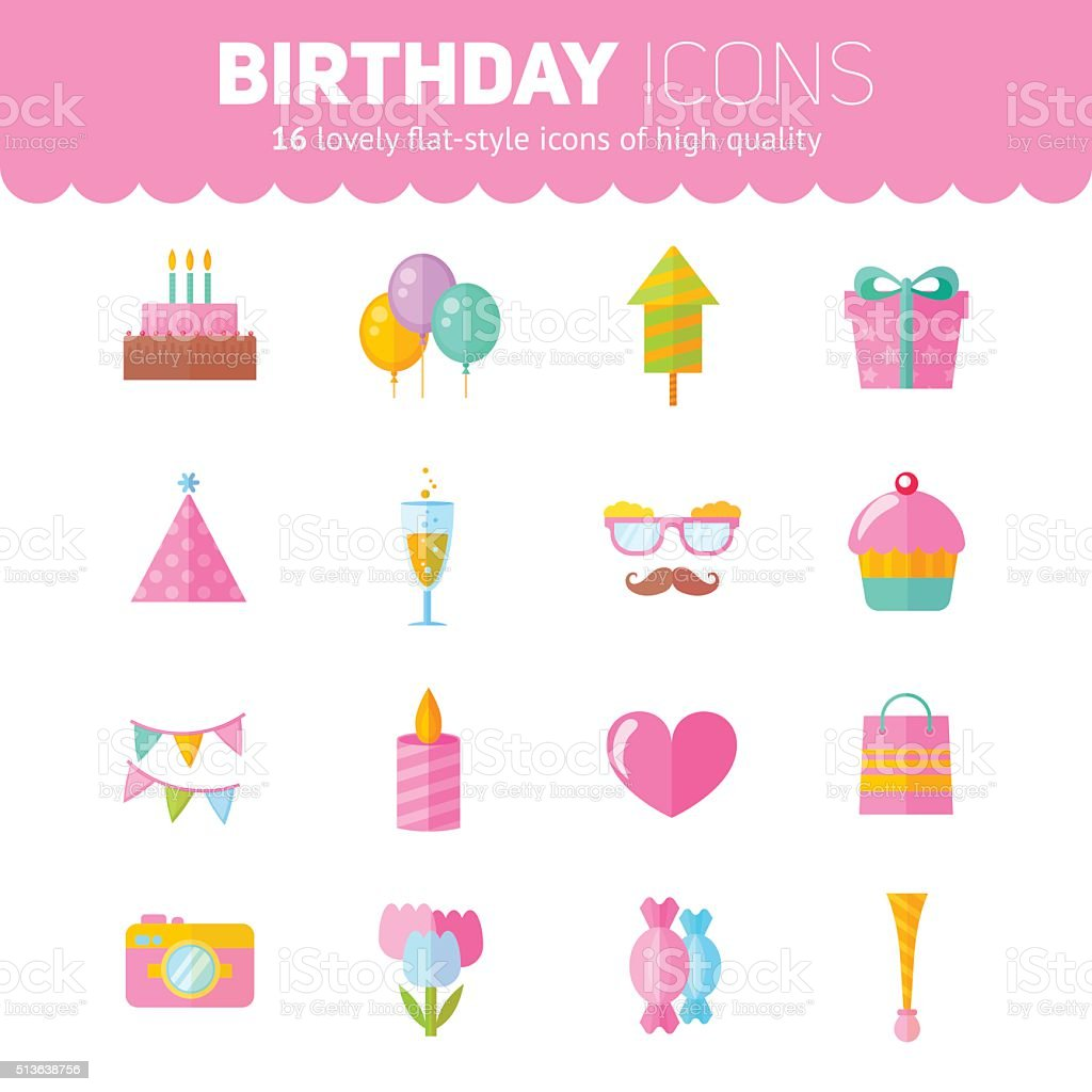 Festive birthday flat icons set vector art illustration