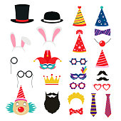 Festive birthday party elements of props. Hats, glasses, masks, mustaches, elements for a suit.