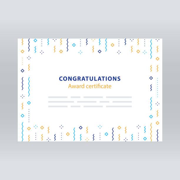 ilustrações, clipart, desenhos animados e ícones de festiva fronteira, fundo de confete, padrão de vetor, decoração minimalista, convite - molduras de certificados e premiações