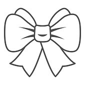 Festive bow thin line icon, New Year concept, Christmas bow sign on white background, Ribbon Bow icon in outline style for mobile concept and web design. Vector graphics