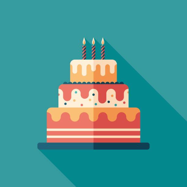 świąteczne ciasto płaska kwadratowa ikona z długimi cieniami. - ciasto stock illustrations