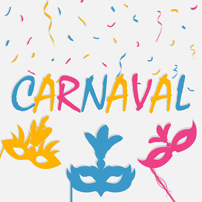 Festive carnaval background with carnival mask and color confetti. Brazil holiday banner. Vector illustration.