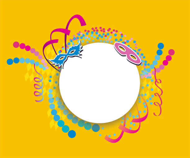 ilustrações, clipart, desenhos animados e ícones de fundo festivo do carnaval com confetes, flâmulas e máscaras - carnaval