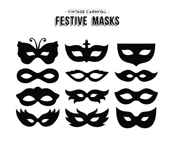 Festive carnival silhouettes mask set isolated Set of festive vintage carnival masks silhouettes isolated over white. EPS10 vector. mardi gras stock illustrations